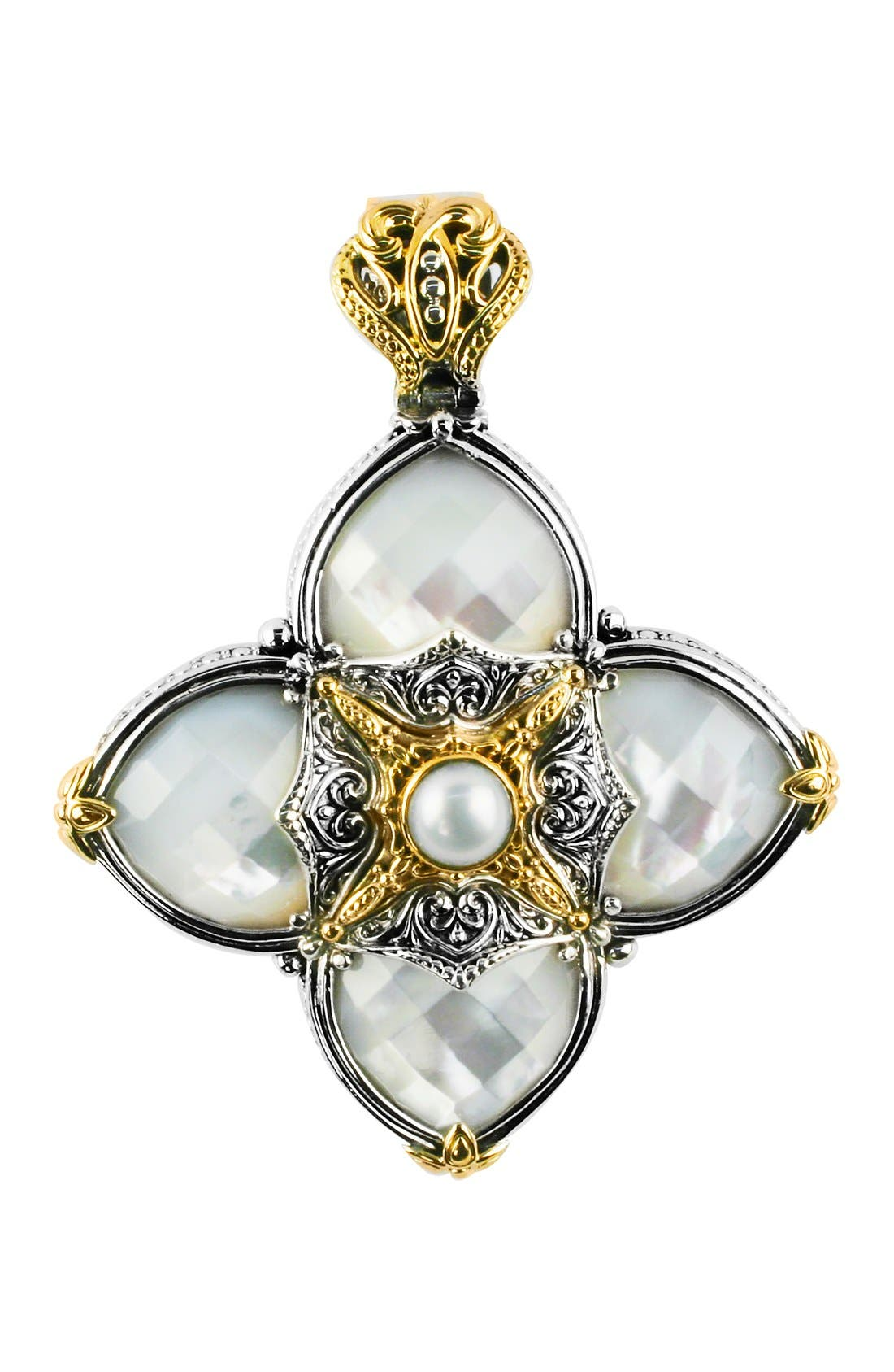 Cross Pendant,                             Main thumbnail 1, color,                             Silver/ Gold/ Mother Of Pearl