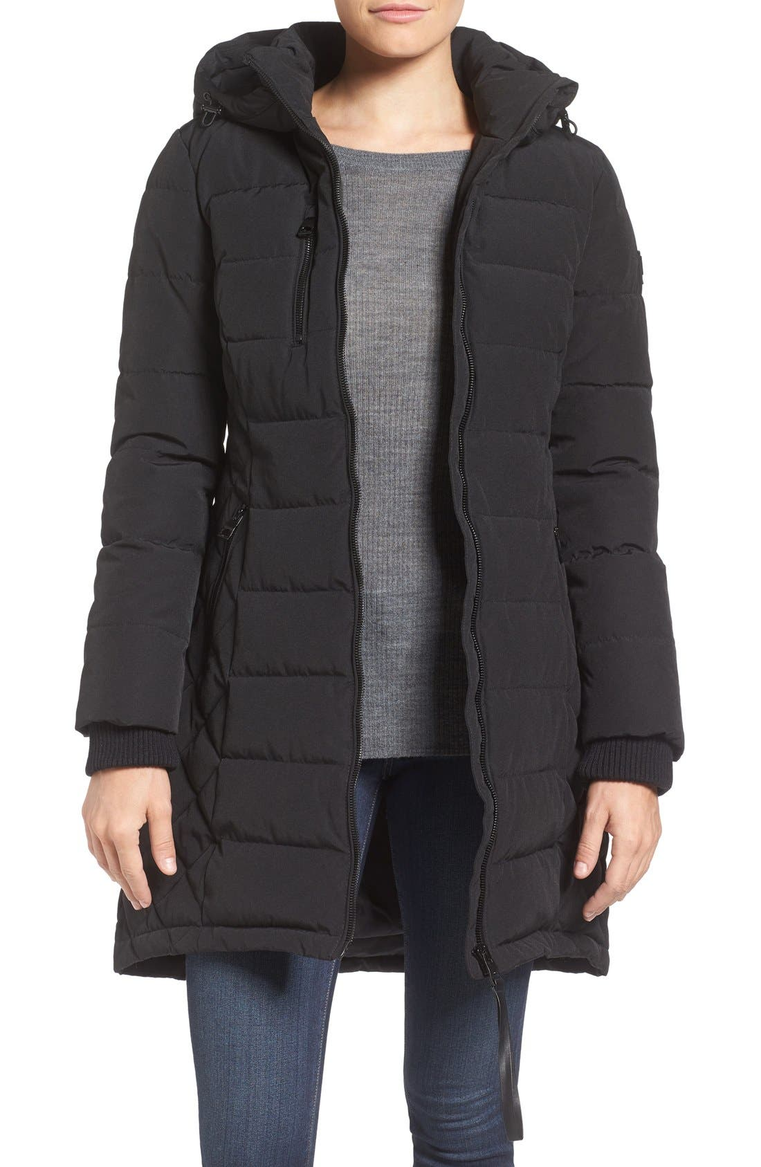 Quilted Hooded Puffer Coat,                             Main thumbnail 1, color,                             Black