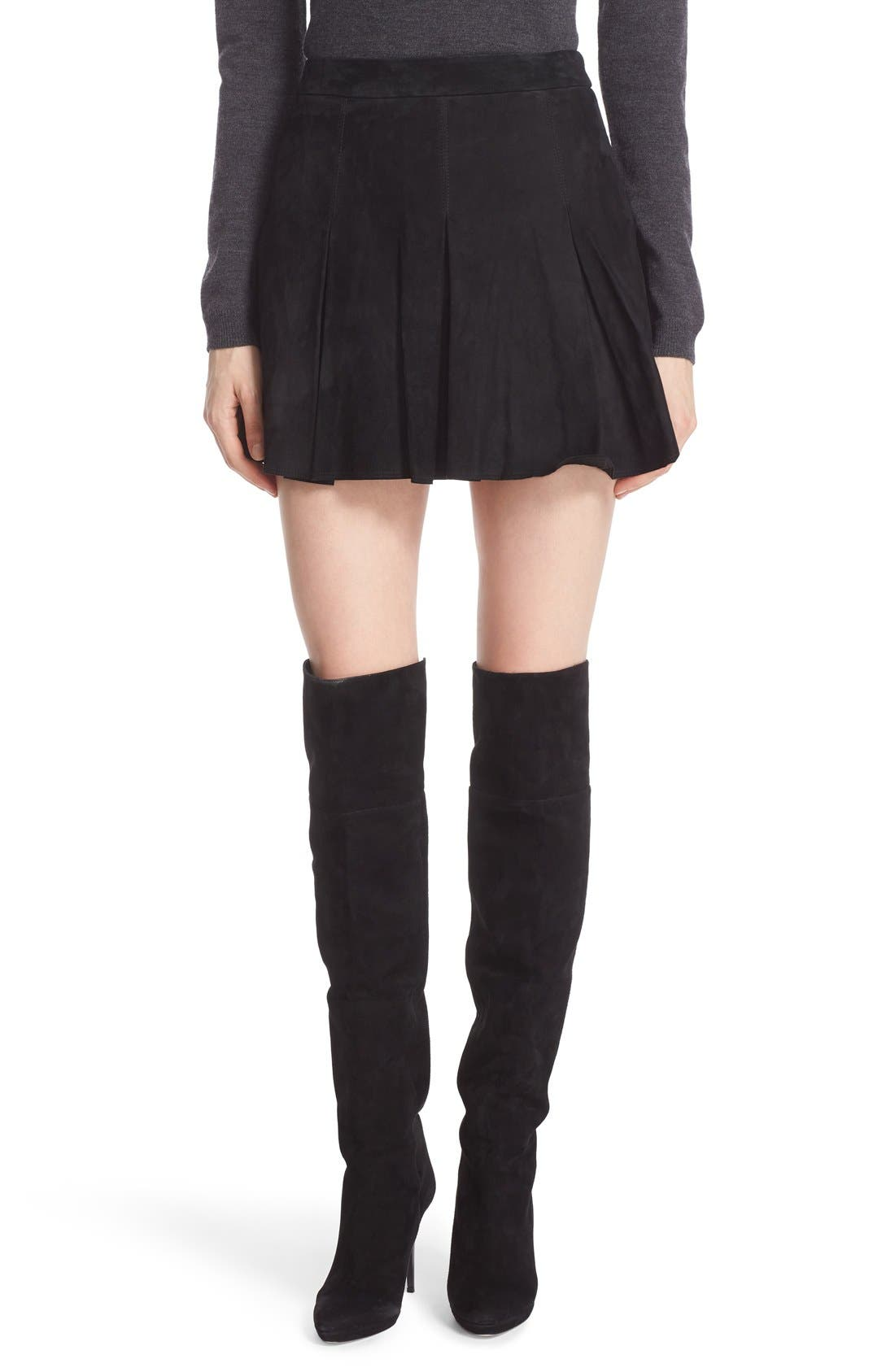 'Lee' Pleated Suede Skirt,                             Main thumbnail 1, color,                             Black