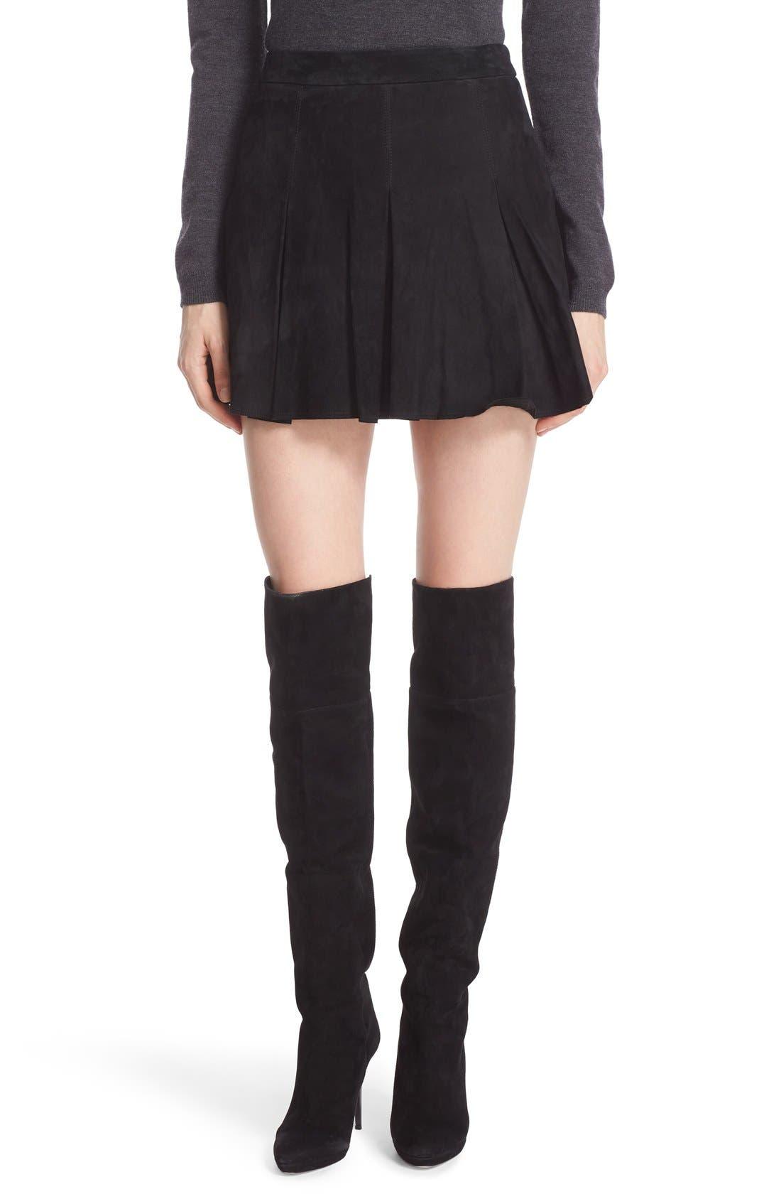Alice + Olivia 'Lee' Pleated Suede Skirt