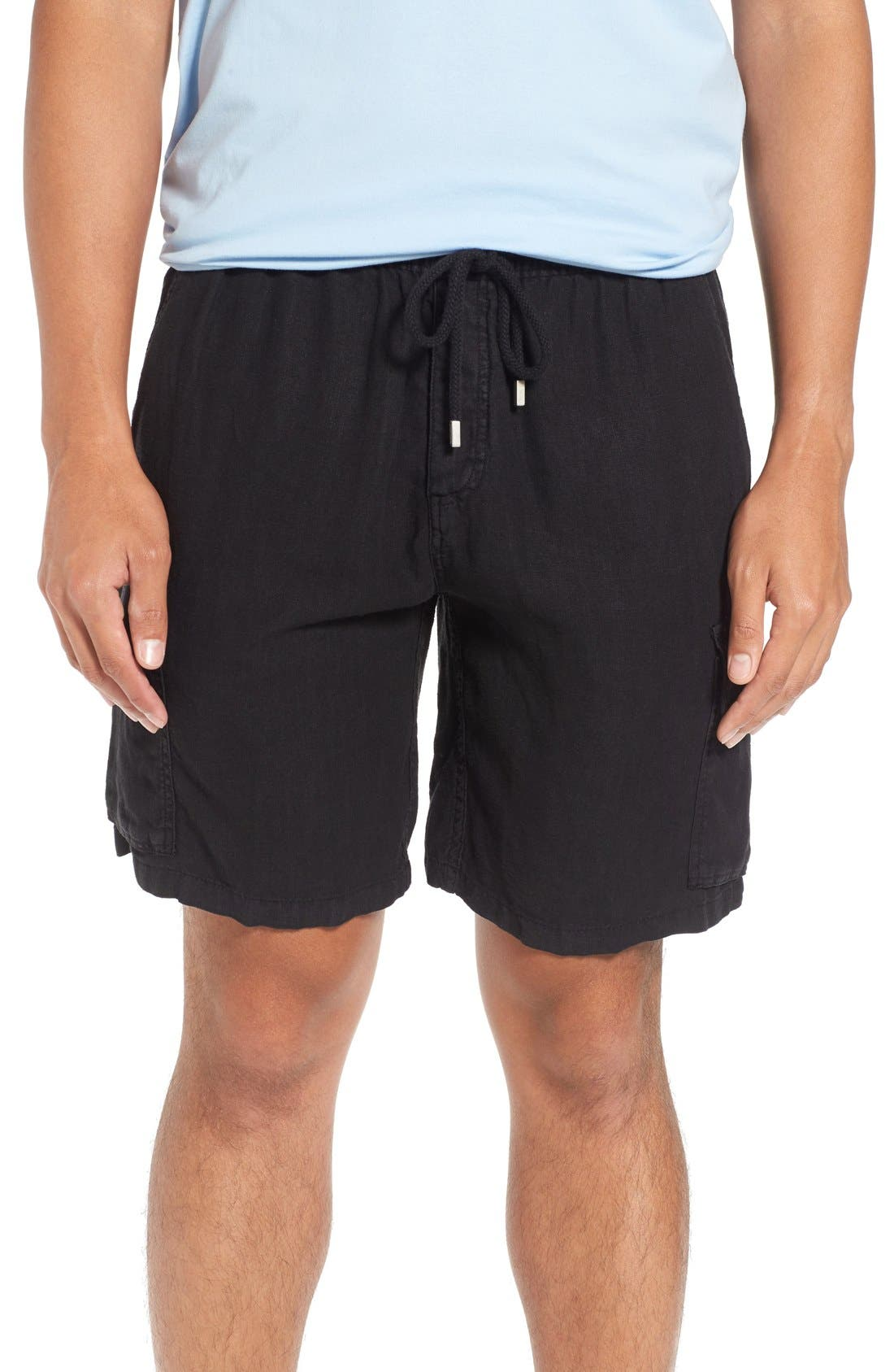 Vilbrequin Linen Cargo Shorts,                         Main,                         color, Black