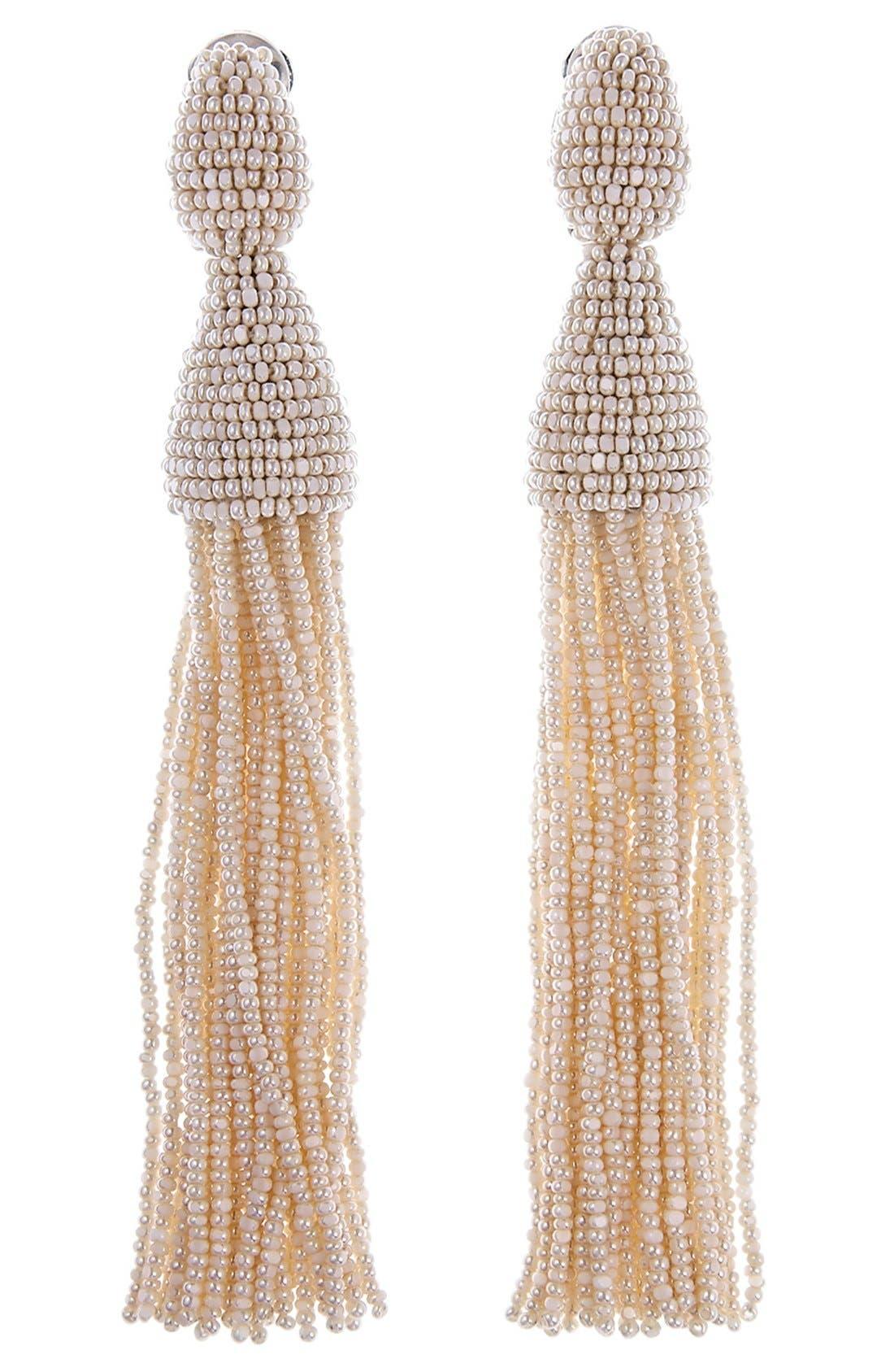 Long Tassel Drop Clip Earrings,                         Main,                         color, Ivory
