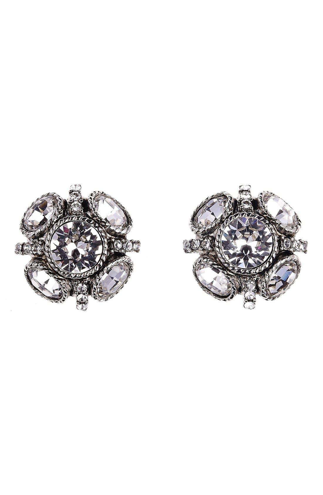 'Classic Button' Stud Earrings,                             Main thumbnail 1, color,                             Crystal Silver
