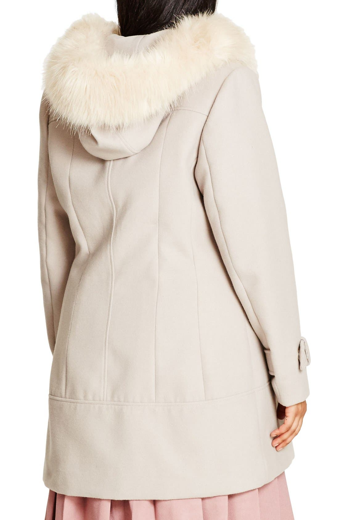 'Winter Warm' Faux Fur Trim Duffle Coat,                             Alternate thumbnail 2, color,                             Nude