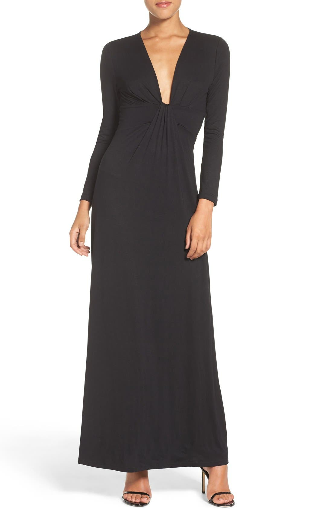 Plunge Neck Jersey Gown,                             Alternate thumbnail 4, color,                             Black
