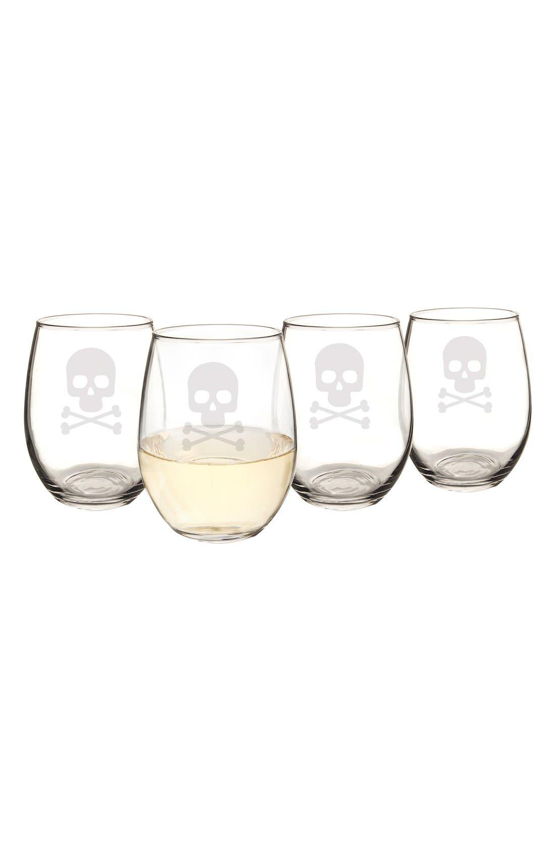 Skull & Crossbones Set of 4 Stemless Wine Glasses,                             Alternate thumbnail 3, color,                             Clear