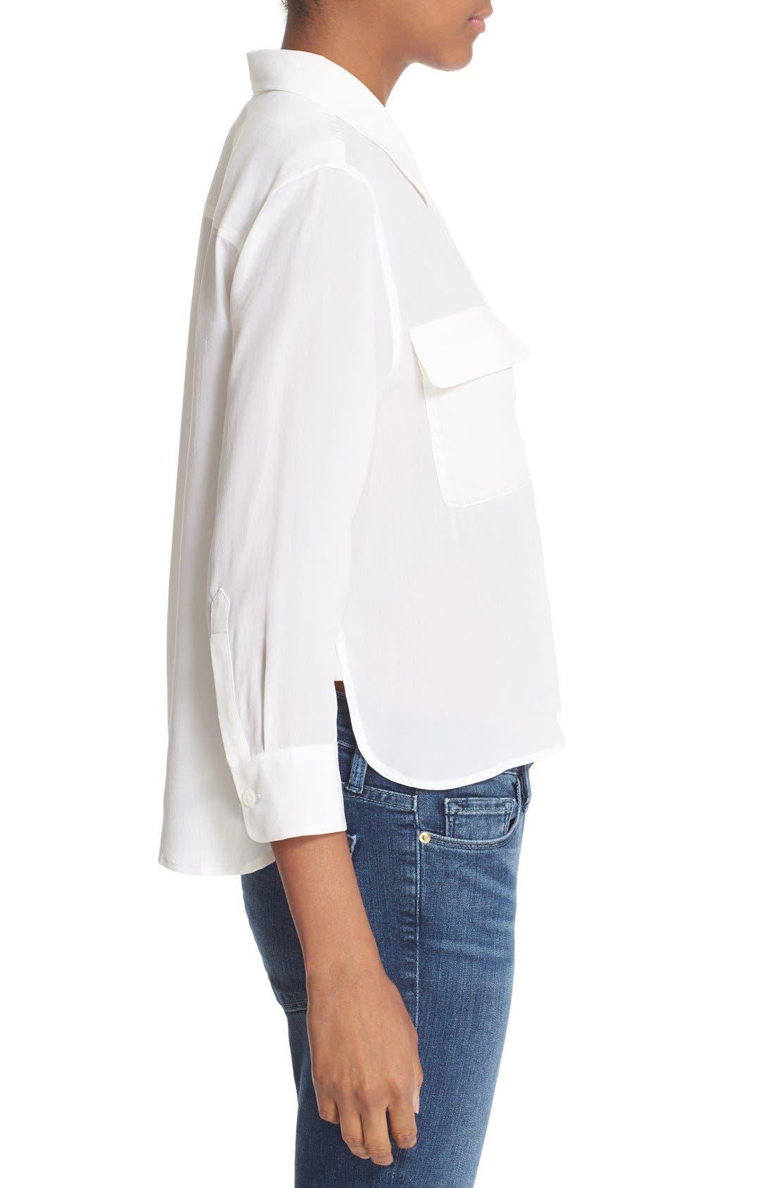 'Signature' Crop Three Quarter Sleeve Shirt,                             Alternate thumbnail 3, color,                             Bright White