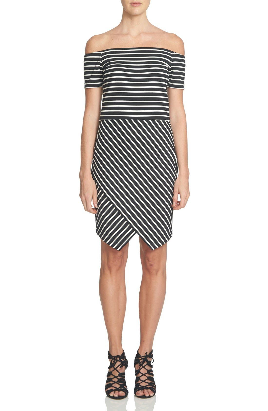 Alternate Image 1 Selected - 1.STATE Stripe Off the Shoulder Body-Con Dress