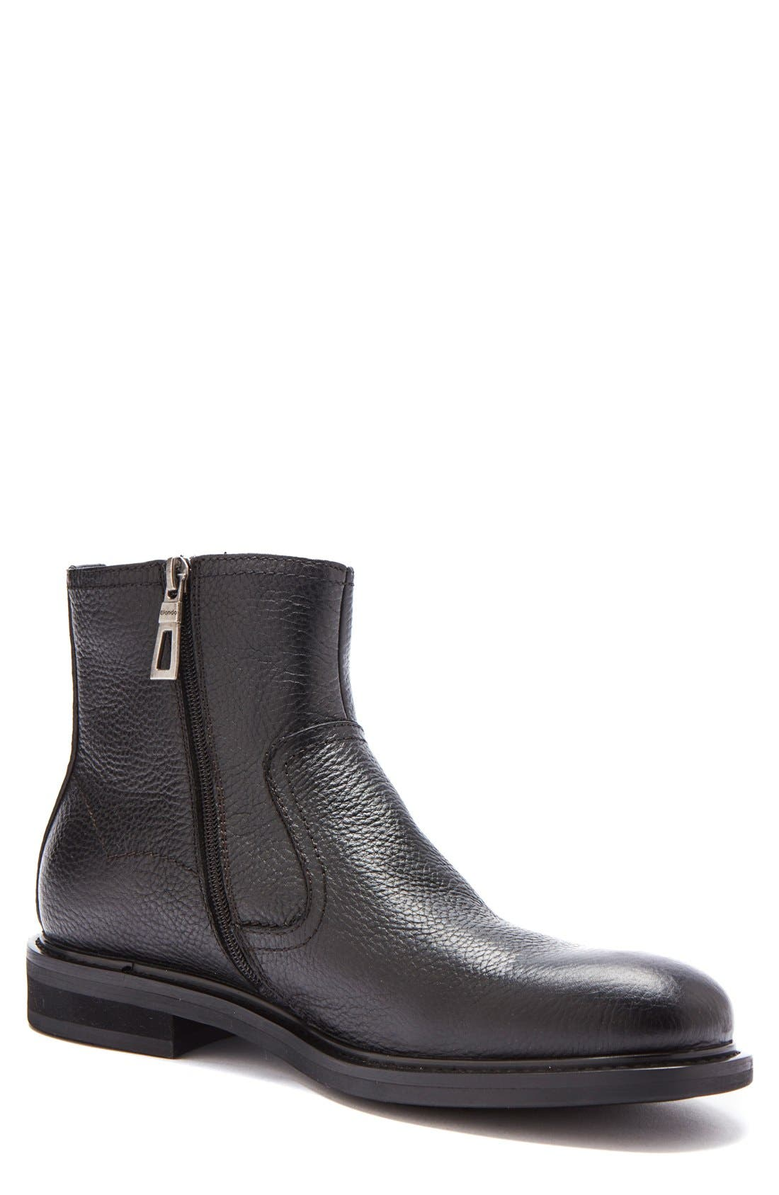 'Fried' Waterproof Zip Boot,                             Main thumbnail 1, color,                             Black Leather