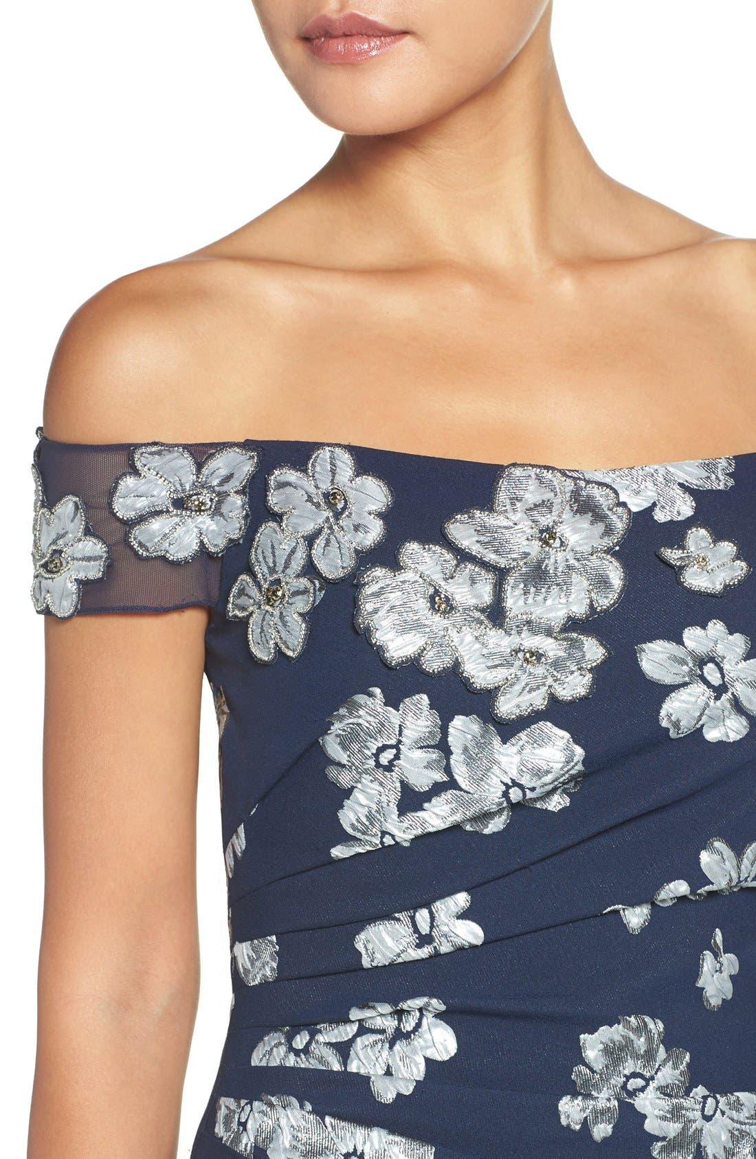Alternate Image 4  - Badgley Mischka Off the Shoulder Floral Mermaid Gown