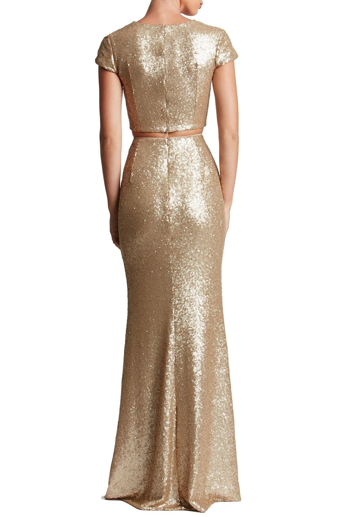 Cara Sequin Two-Piece Gown,                             Alternate thumbnail 3, color,                             Brushed Gold