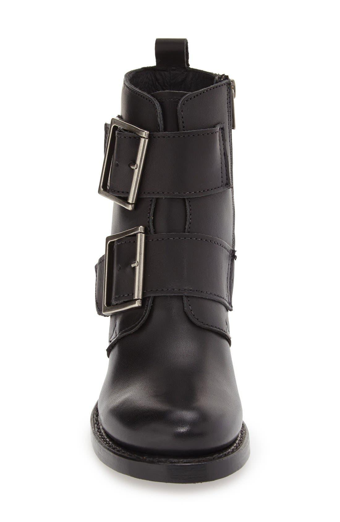 'Sabrina' Double Buckle Boot,                             Alternate thumbnail 3, color,                             Black