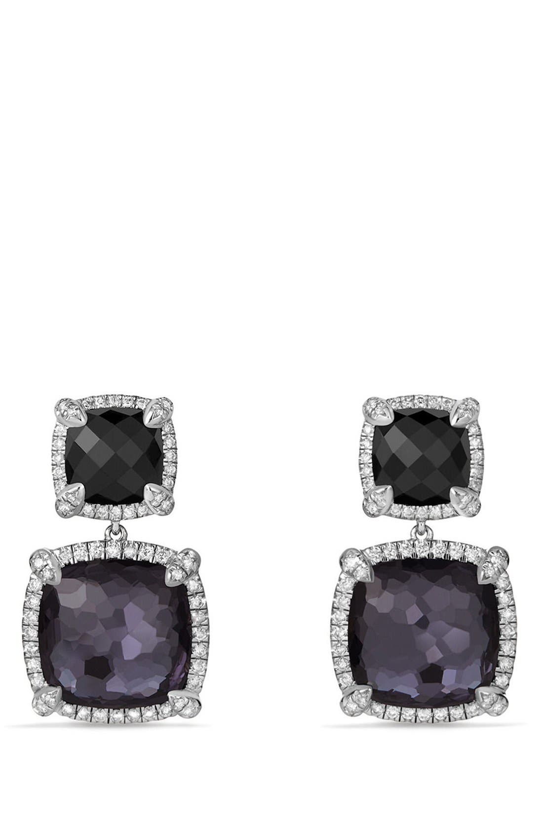 'Châtelaine' Pavé Bezel Double Drop Earrings with Diamonds,                             Main thumbnail 1, color,                             Black Onyx