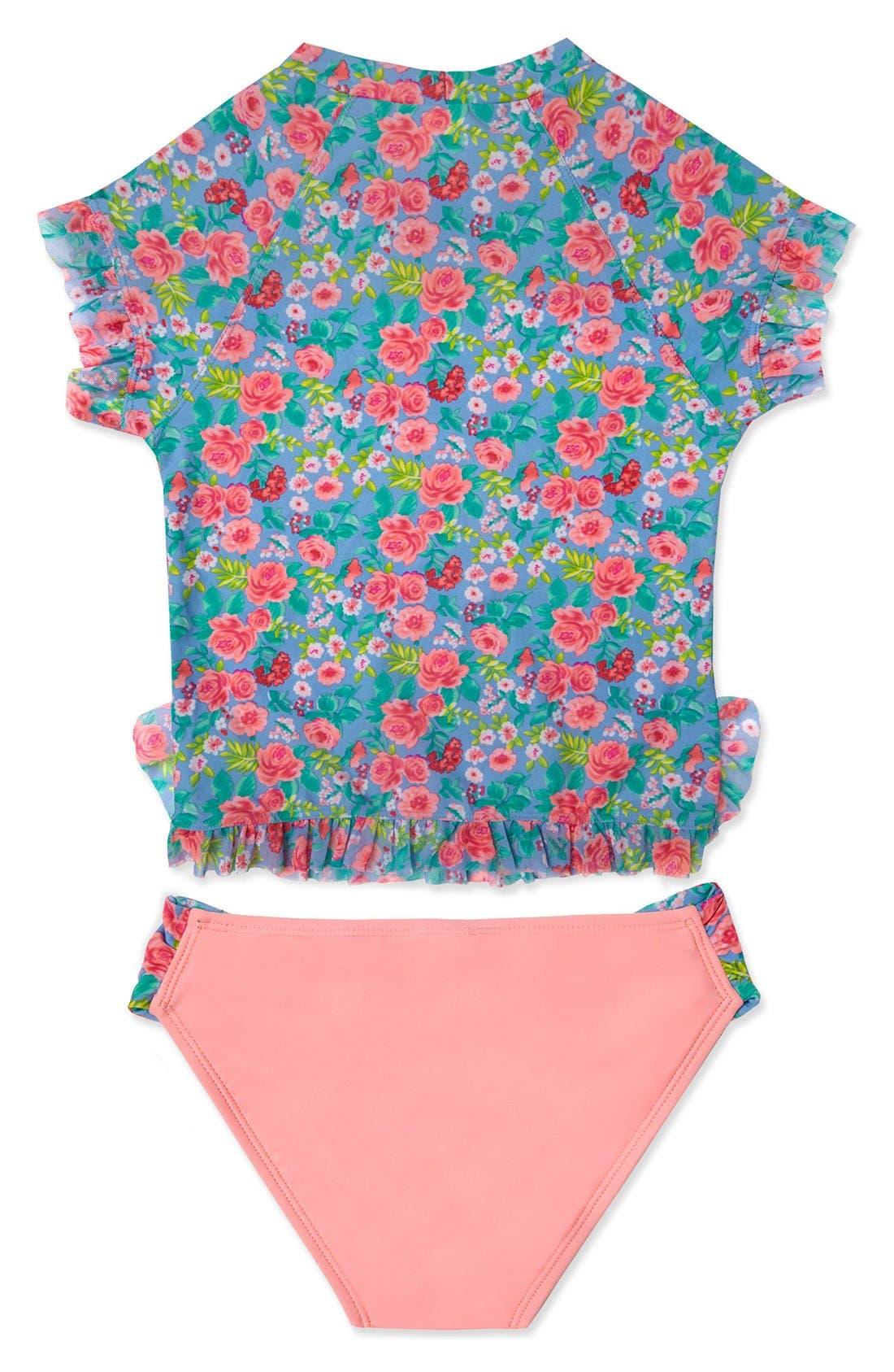 'Rose Tango' Two-Piece Rashguard Swimsuit,                             Alternate thumbnail 2, color,                             Blue