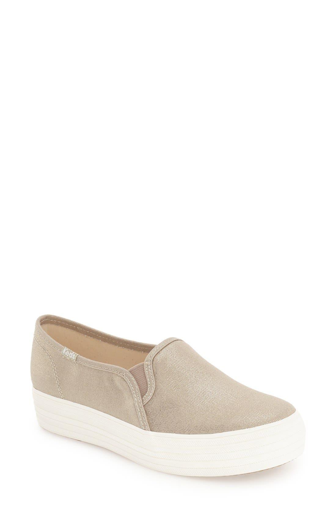 Alternate Image 1 Selected - Keds® 'Triple Decker - Metallic' Slip-On Platform Sneaker (Women)