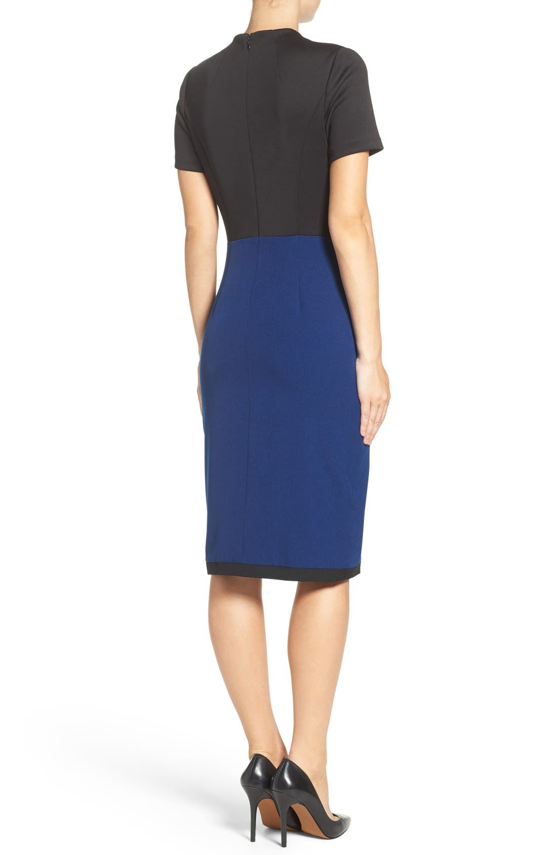 Scuba & Crepe Sheath Dress,                             Alternate thumbnail 2, color,                             Black/ Navy