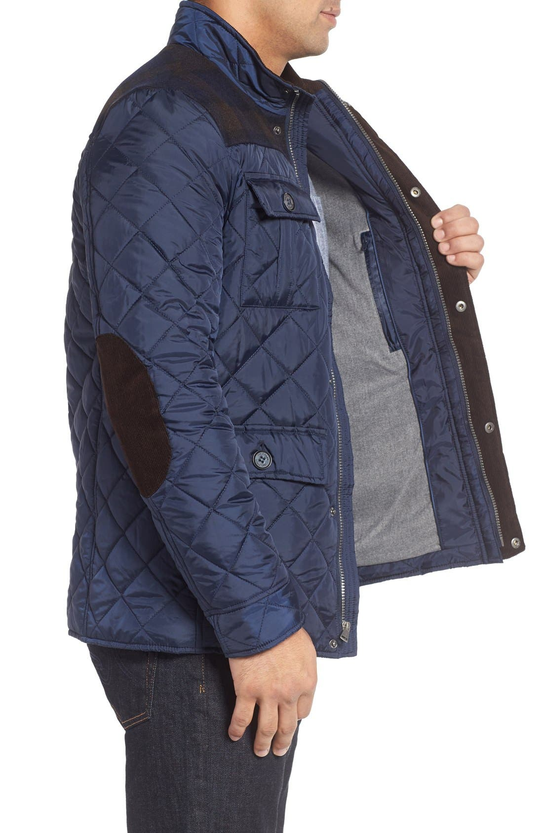 Mixed Media Quilted Jacket,                             Alternate thumbnail 3, color,                             Navy