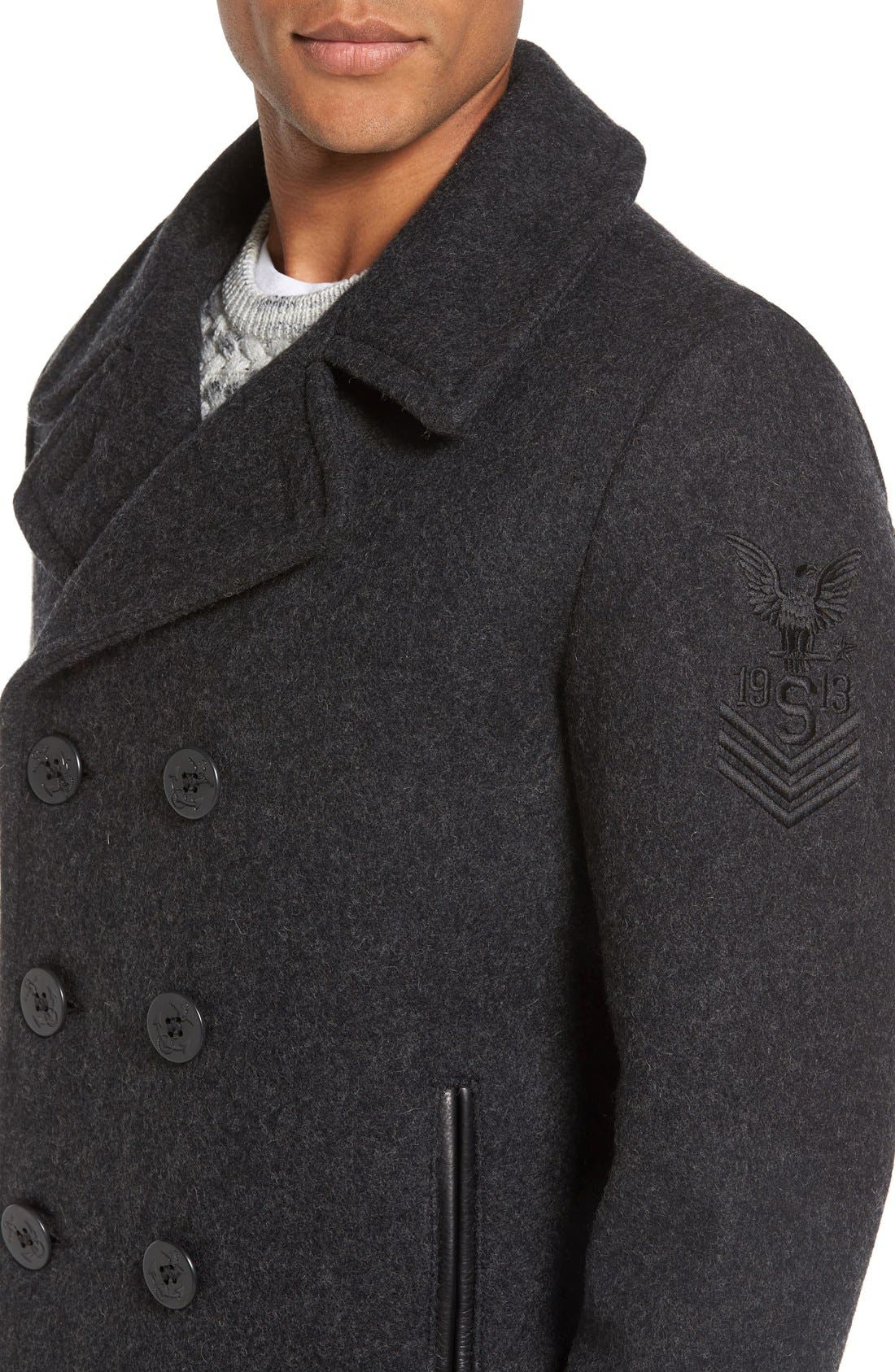 Alternate Image 4  - Schott NYC Embroidered Wool Blend Peacoat
