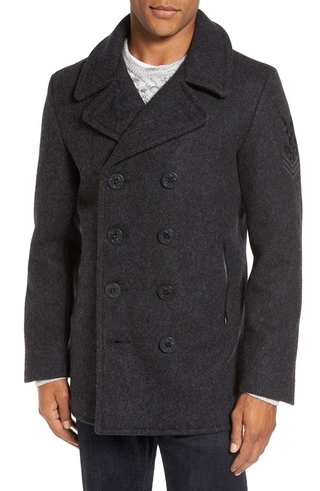 Main Image - Schott NYC Embroidered Wool Blend Peacoat