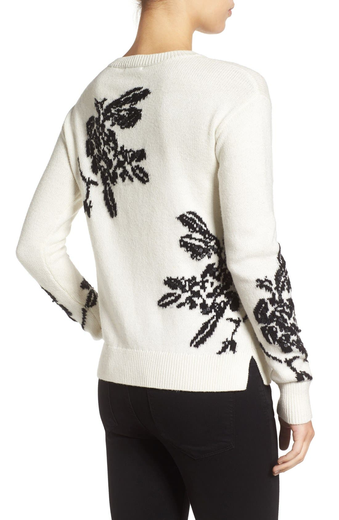 Alternate Image 2  - Halogen® Floral Intarsia Knit Sweater