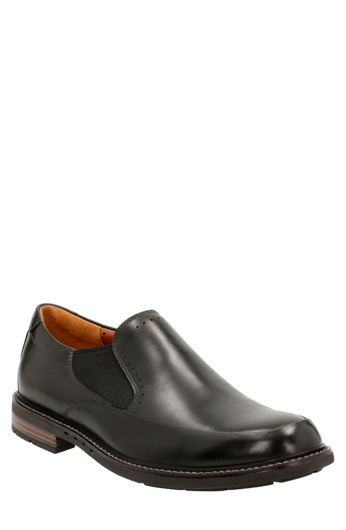 'Unstructured - Elott' Slip-On,                             Main thumbnail 1, color,                             Black Leather