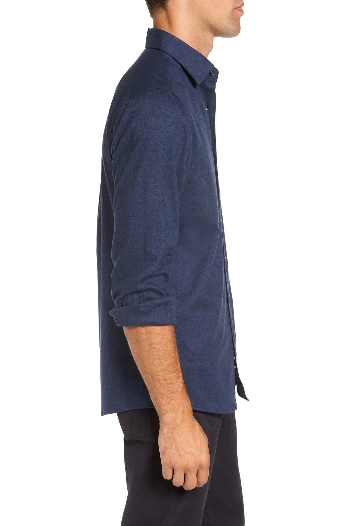 'Sinclair' Trim Fit Brushed Twill Sport Shirt,                             Alternate thumbnail 3, color,                             Indigo