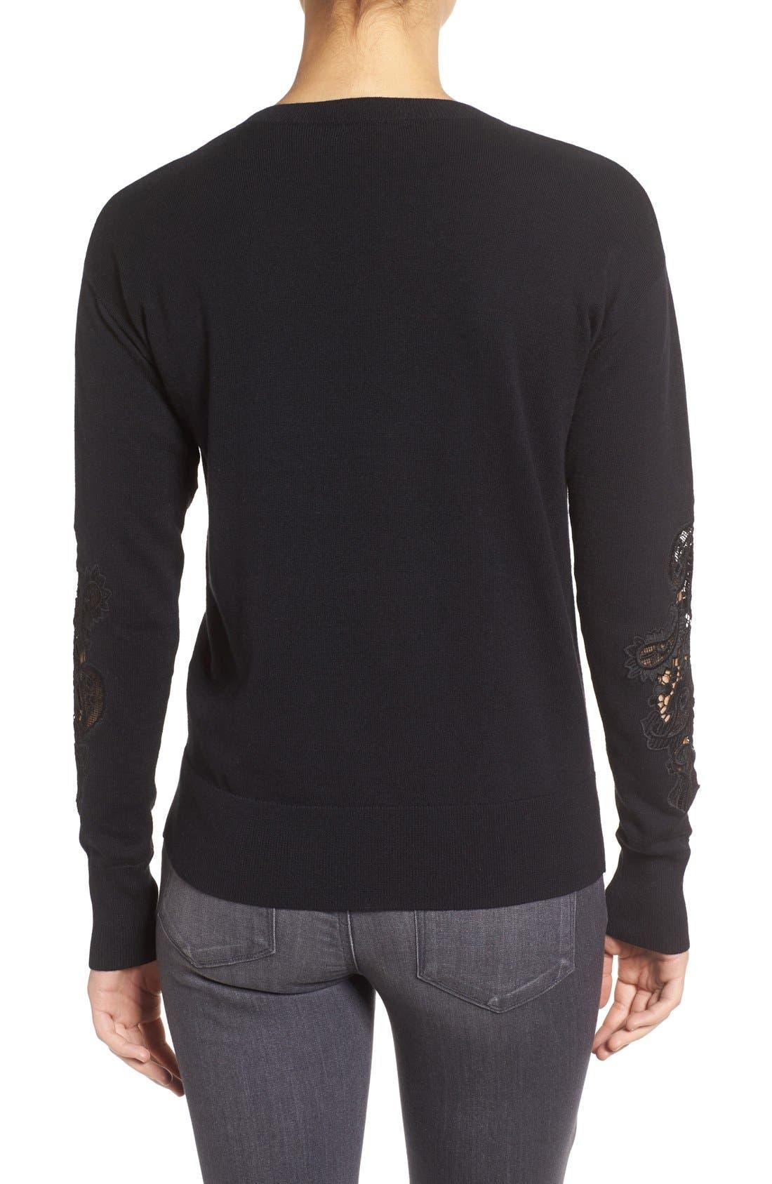 Alternate Image 2  - Halogen® Lace Inset Sweater (Regular & Petite)