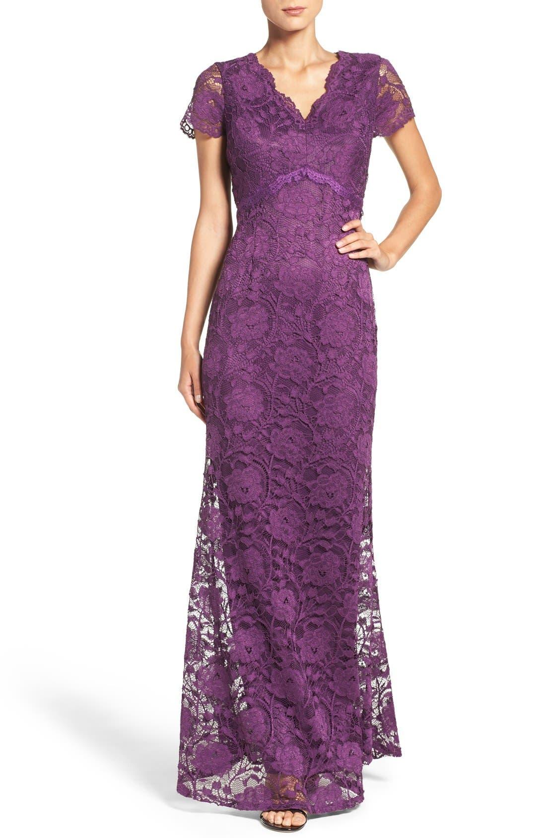 Lace Gown,                             Alternate thumbnail 4, color,                             Plum