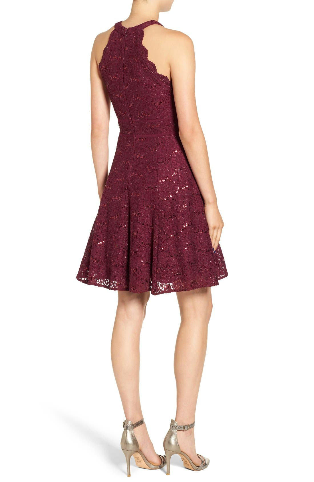 Alternate Image 2  - Morgan & Co. Embellished High Neck Skater Dress