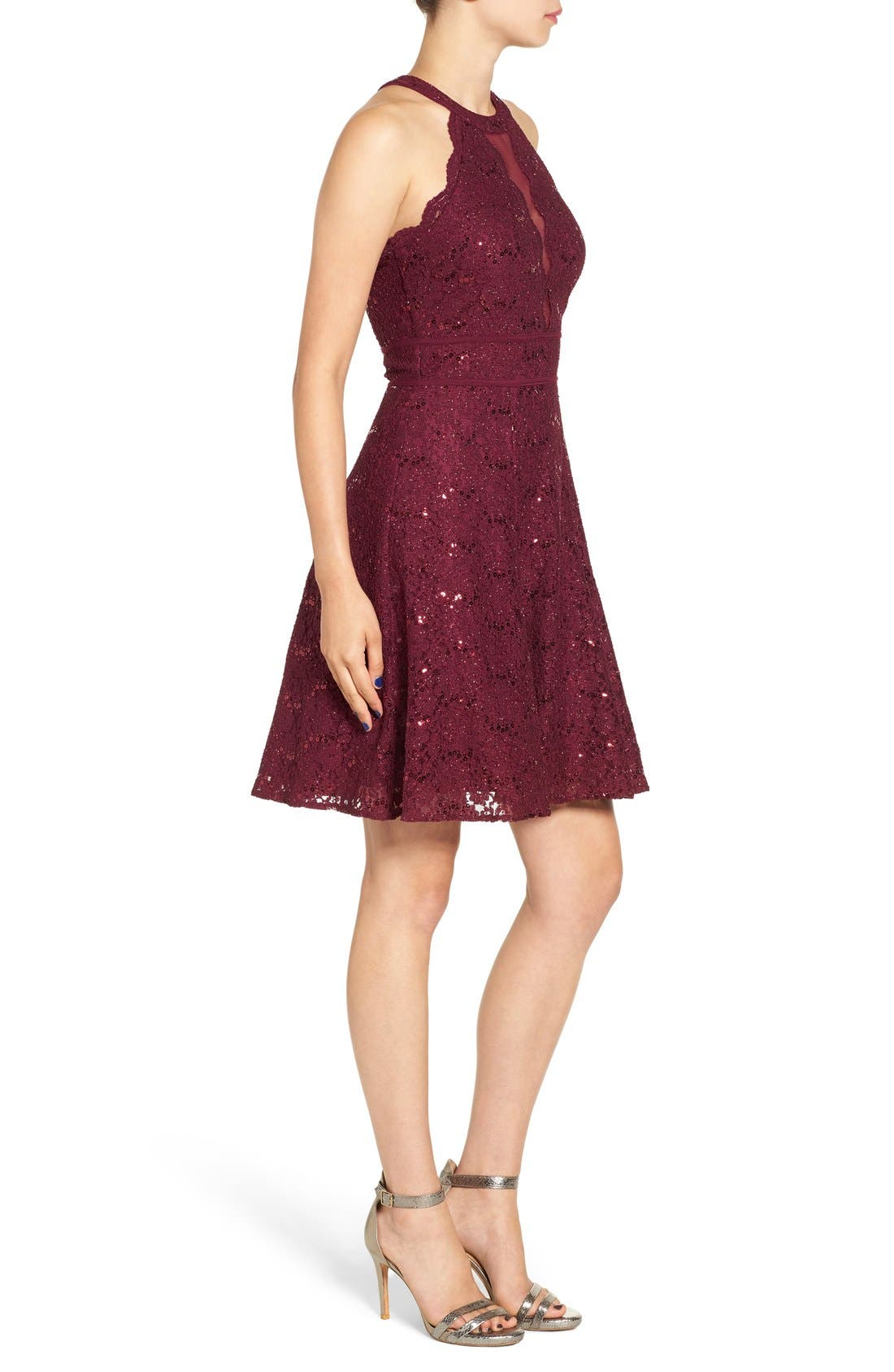 Alternate Image 3  - Morgan & Co. Embellished High Neck Skater Dress