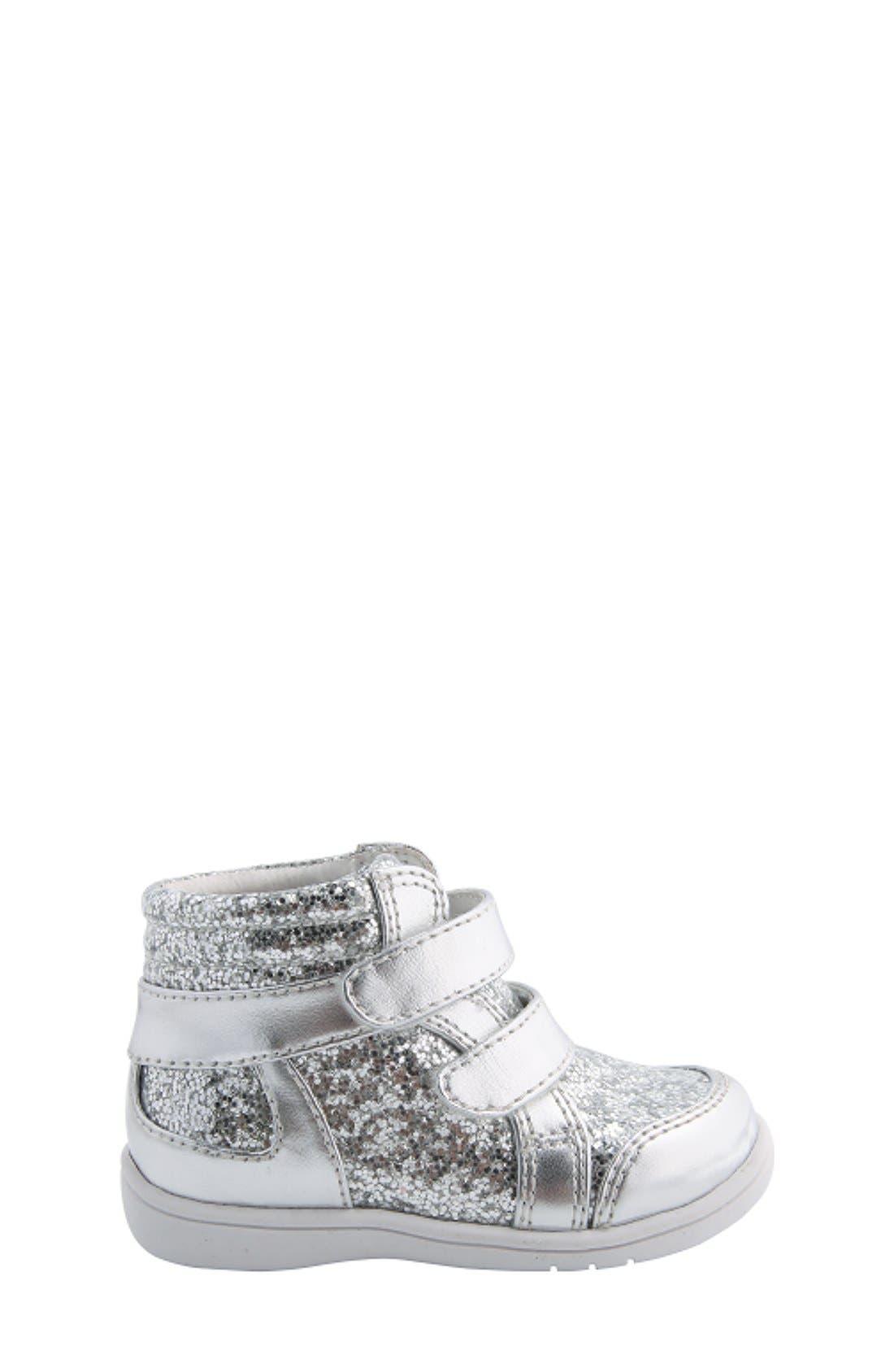 Nina 'Stardust' Metallic High Top Sneaker,                             Alternate thumbnail 6, color,                             Silver Metallic