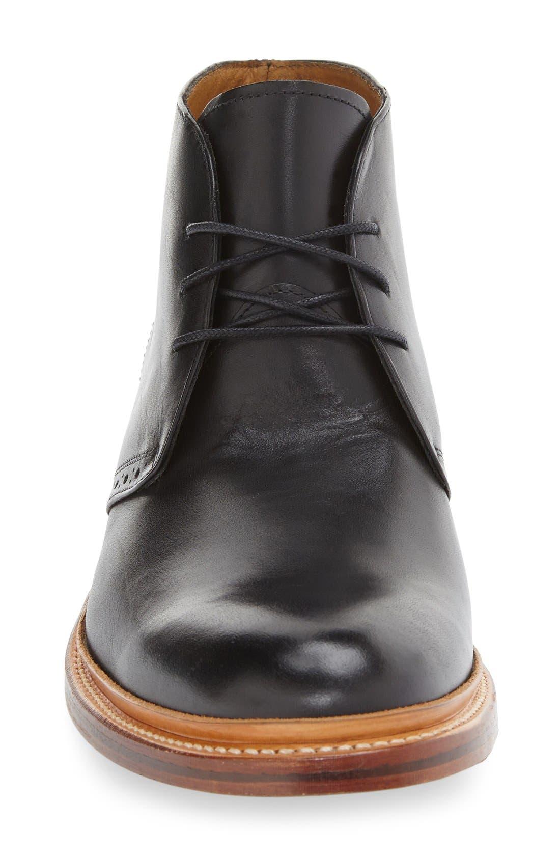 'Madison II' Chukka Boot,                             Alternate thumbnail 3, color,                             Black Smooth Leather