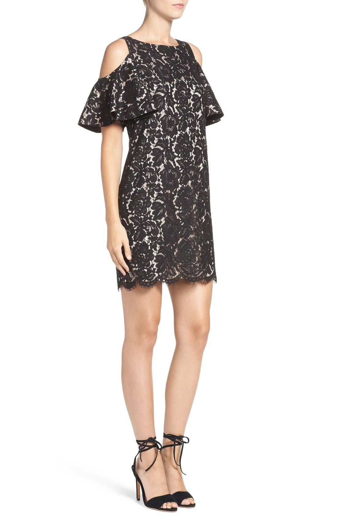 Cold Shoulder Lace Shift Dress,                             Alternate thumbnail 3, color,                             Black