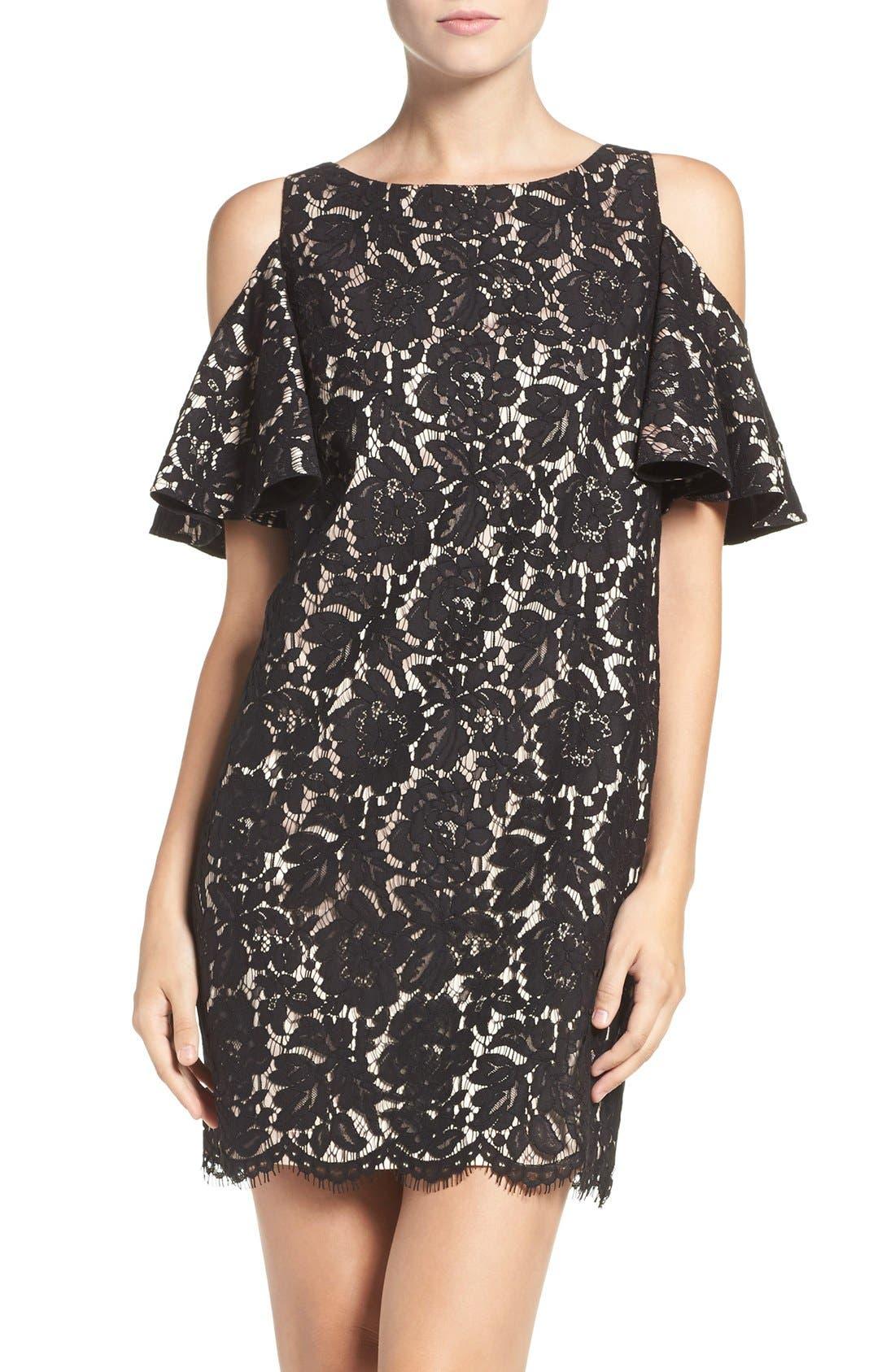 Cold Shoulder Lace Shift Dress,                             Main thumbnail 1, color,                             Black