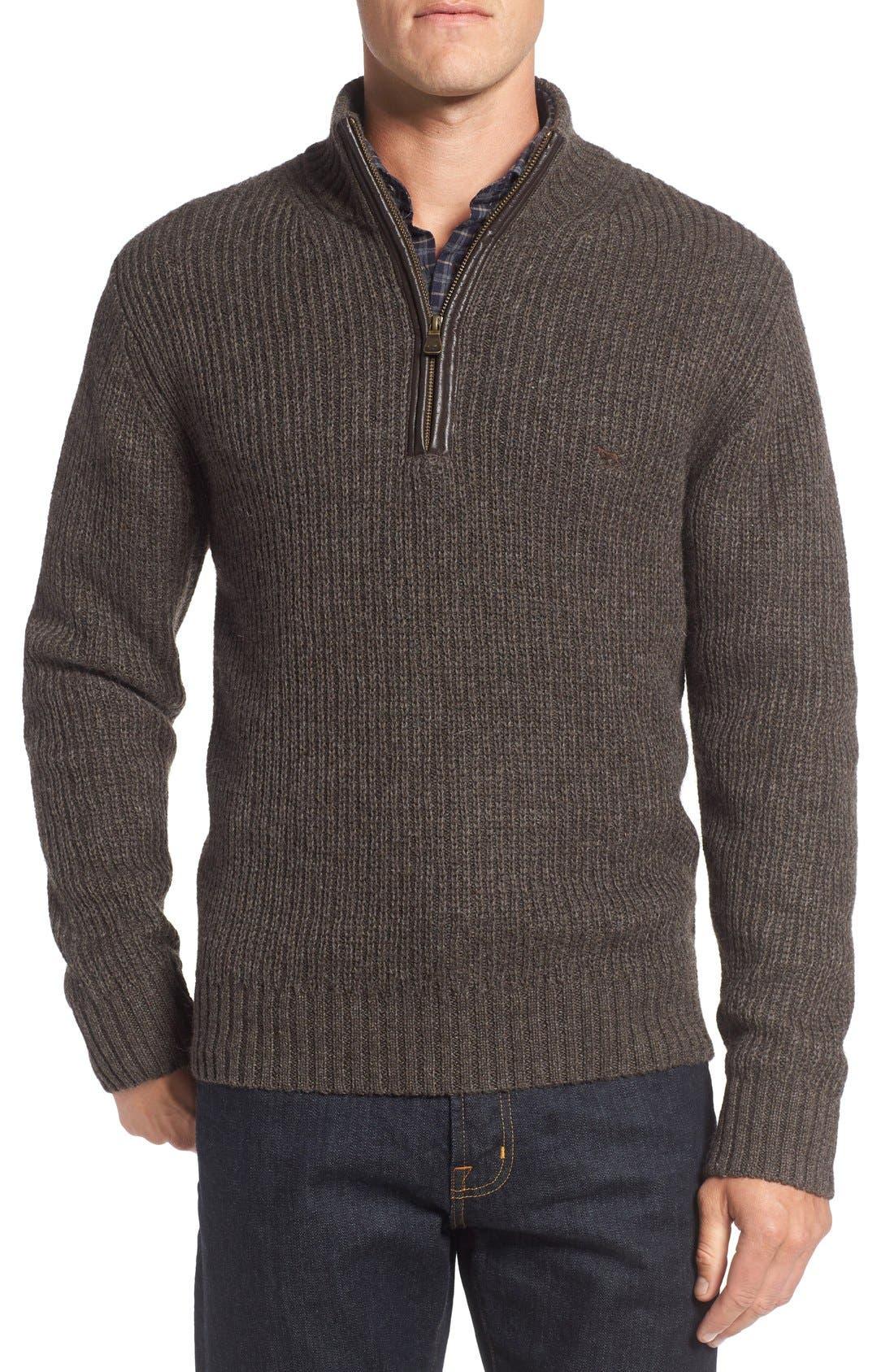 'Huka Lodge' Merino Wool Blend Quarter Zip Sweater,                             Main thumbnail 1, color,                             Dirt