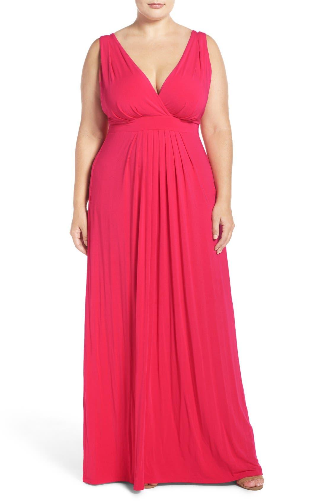 Chloe Empire Waist Maxi Dress,                         Main,                         color, Rose Red