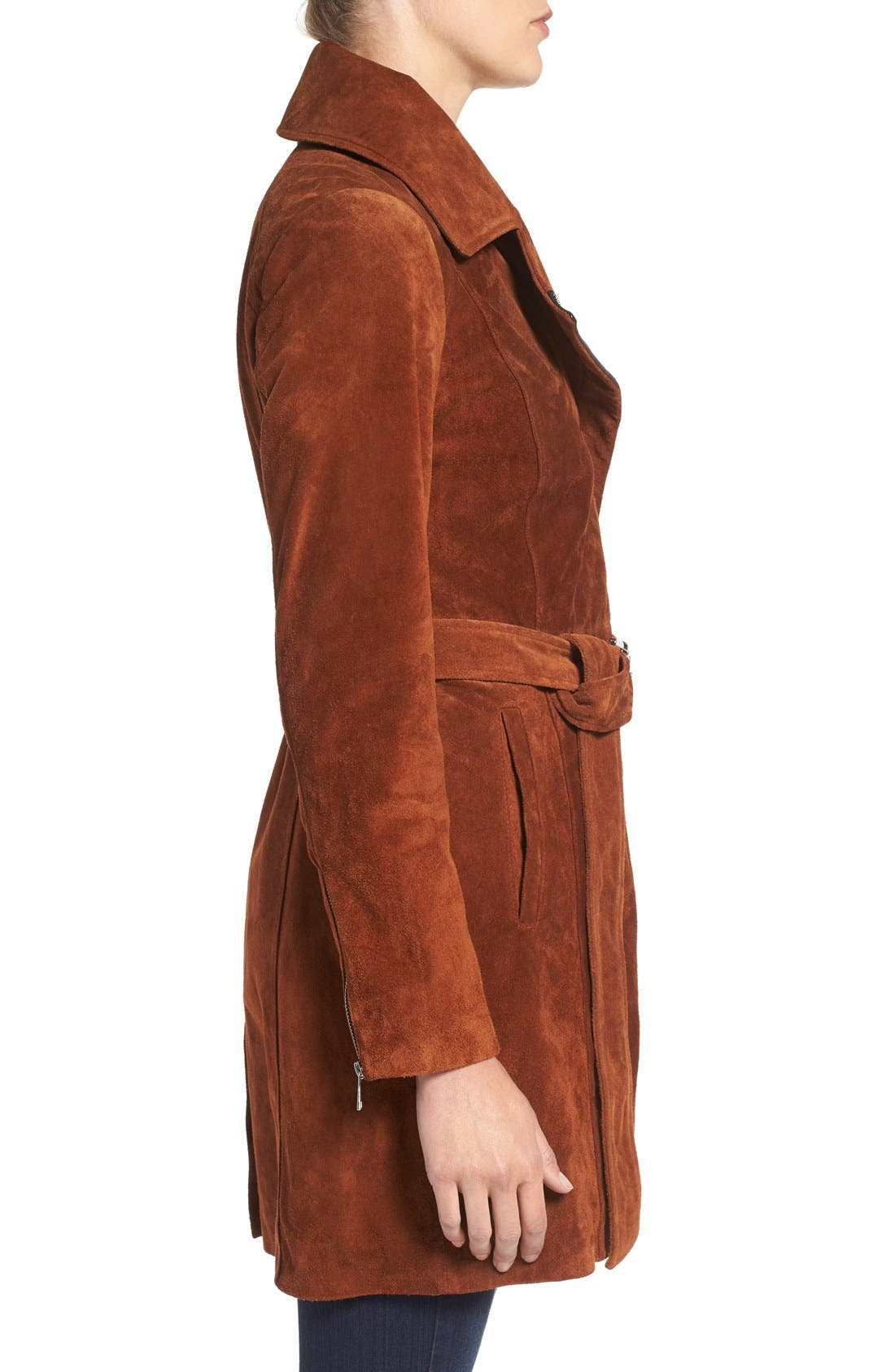 Alternate Image 3  - Andrew Marc 'Sienna 33' Suede Belted Trench Coat
