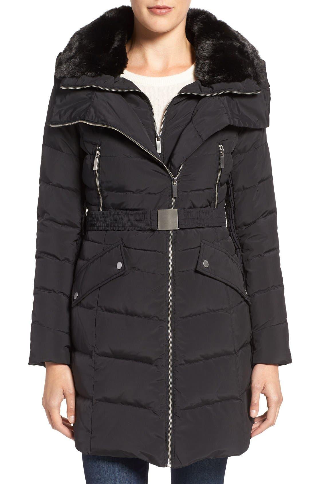 Down Coat with Faux Fur Trim,                         Main,                         color, Black