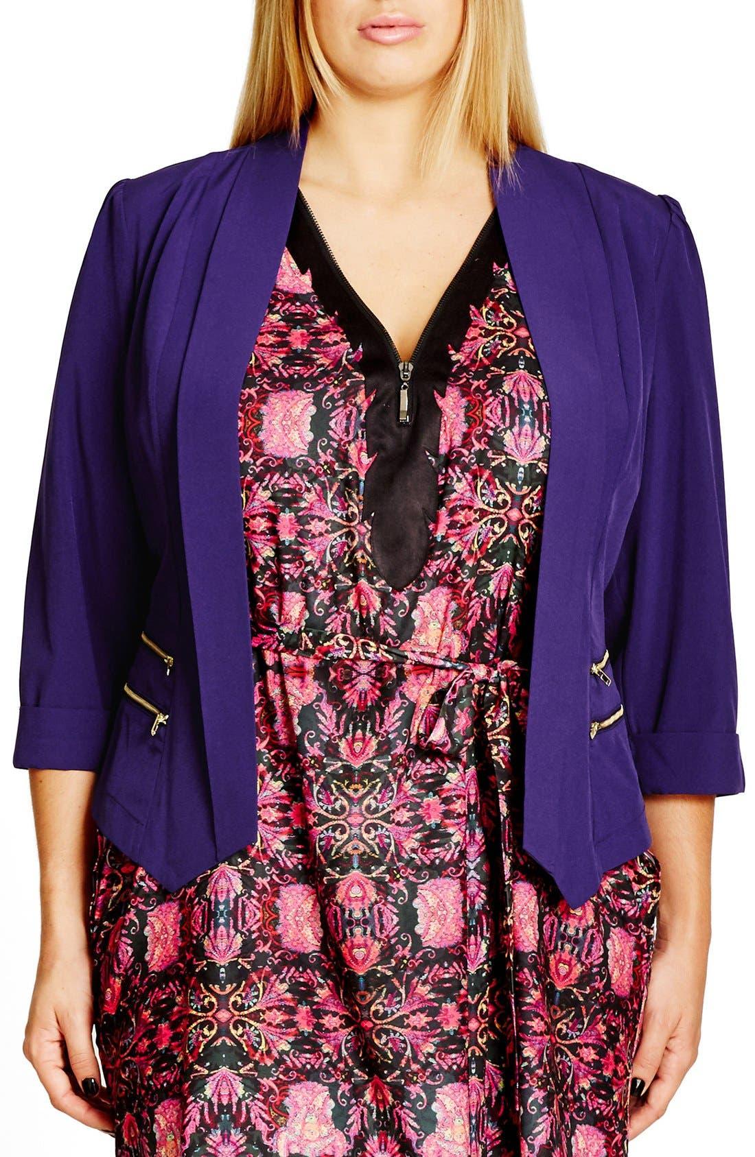 Main Image - City Chic Double Zip Jacket (Plus Size)