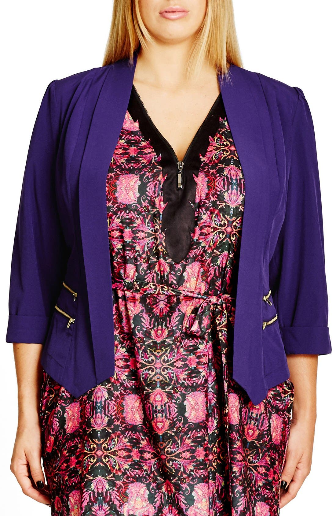 Double Zip Jacket,                         Main,                         color, Royalty
