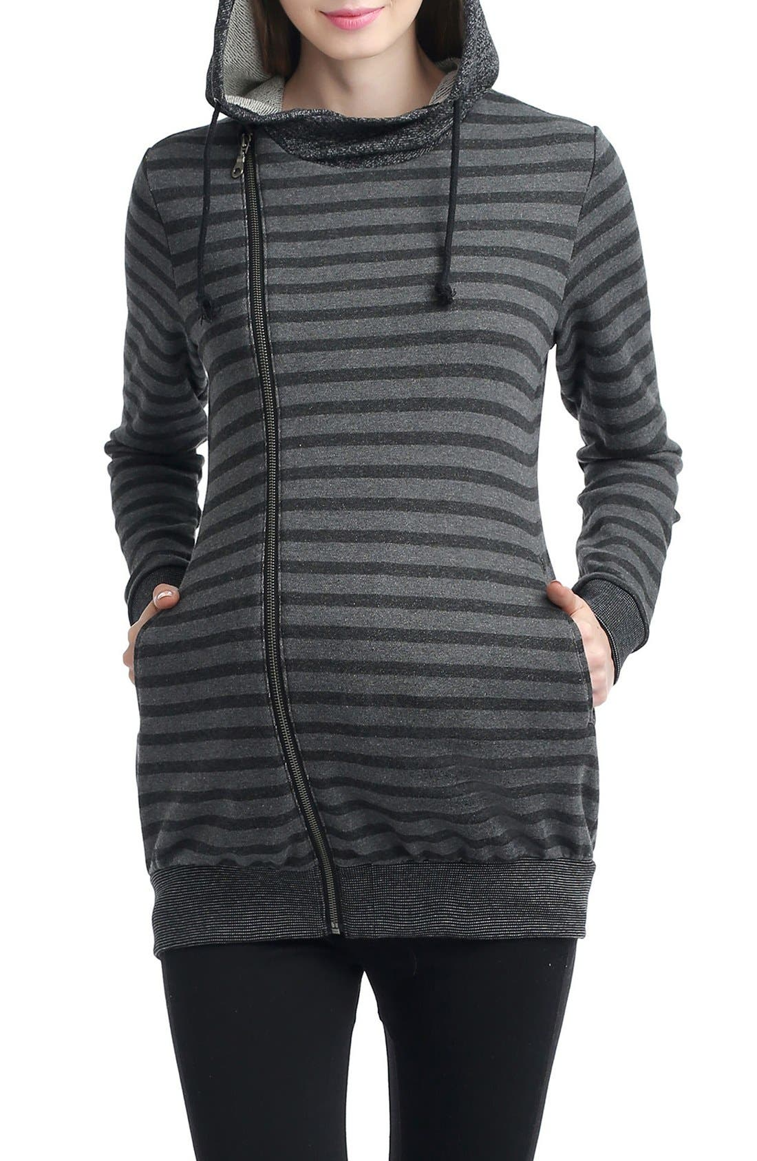 Salena Stripe Maternity Hoodie,                         Main,                         color, Black/ Dark Heather Gray