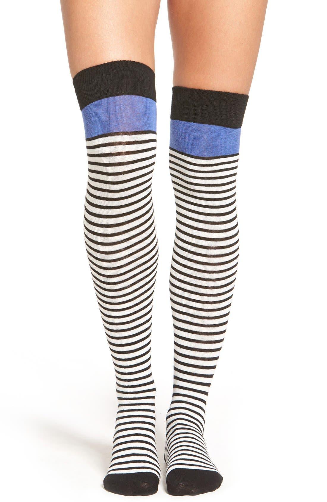 Alternate Image 1 Selected - kate spade new york 'scuba' stripe over-the-knee socks