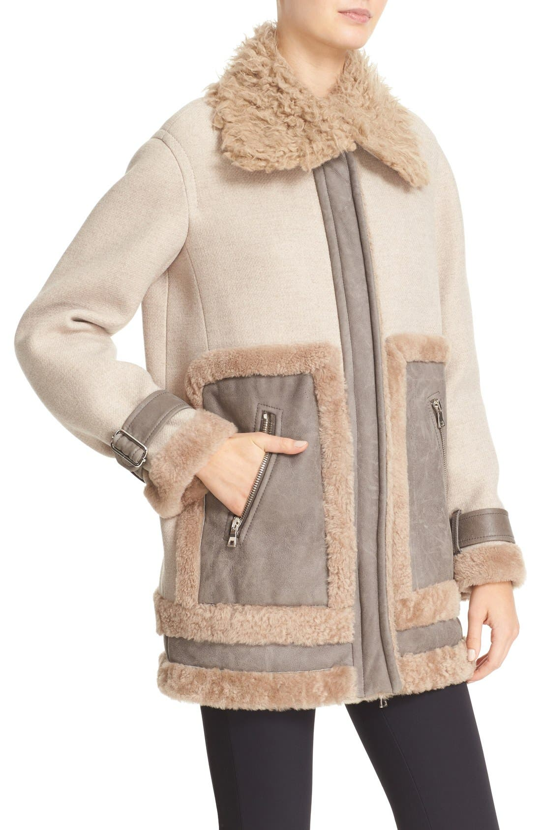 Alternate Image 5  - Rebecca Taylor Genuine & Faux Shearling Mixed Media Coat