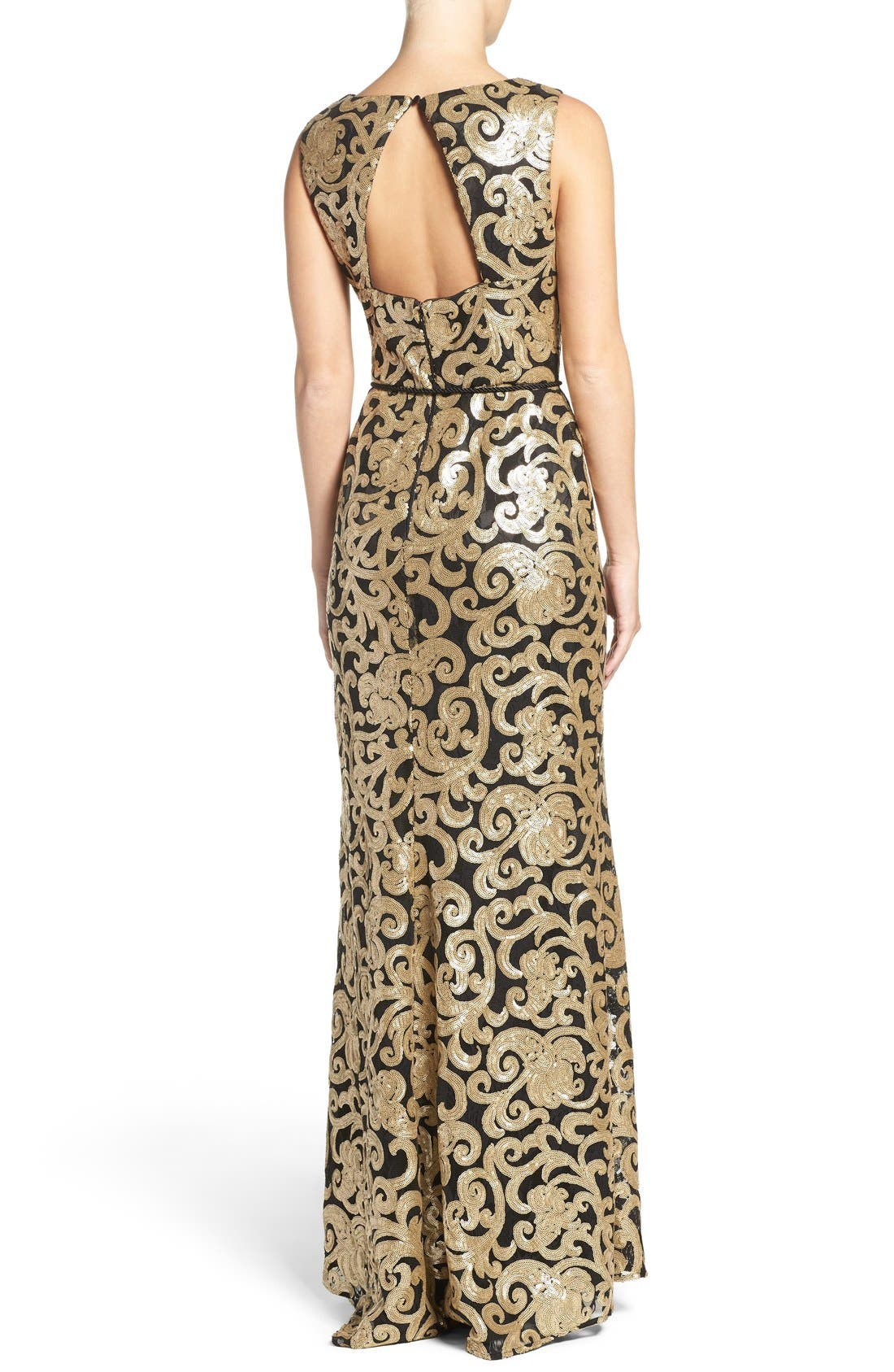 Alternate Image 2  - Vince Camuto Belted Sequin Gown