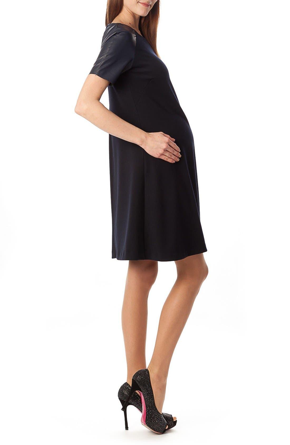 'Knightsbridge' A Line Maternity Dress,                             Alternate thumbnail 3, color,                             Dark Navy