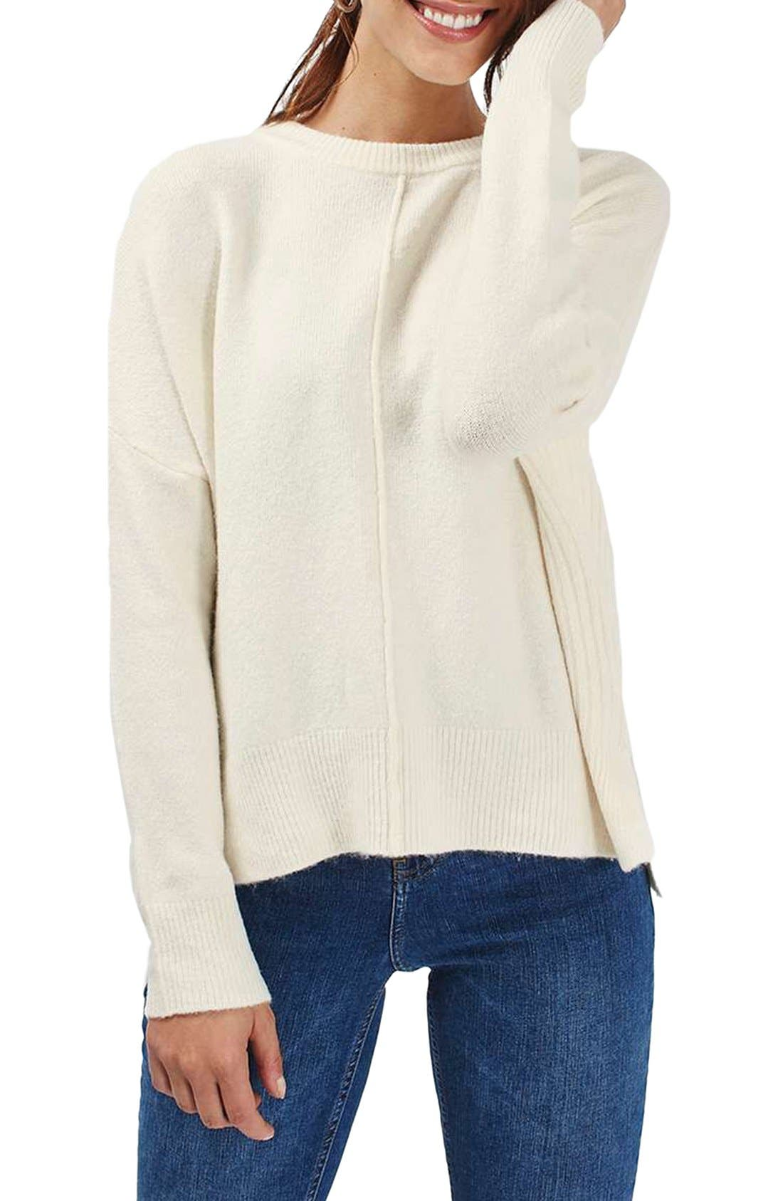 Zip Side Sweater,                             Main thumbnail 1, color,                             Cream