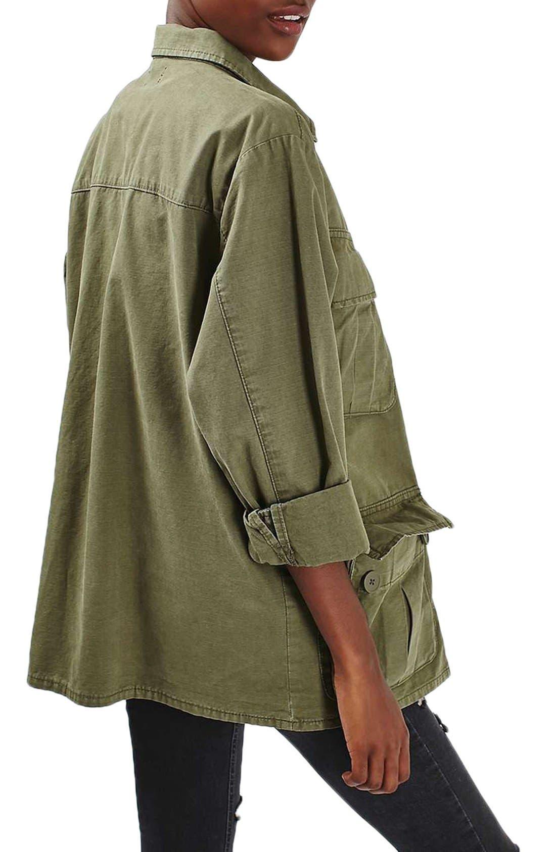 Alternate Image 4  - Topshop Oversize Army Shirt Jacket