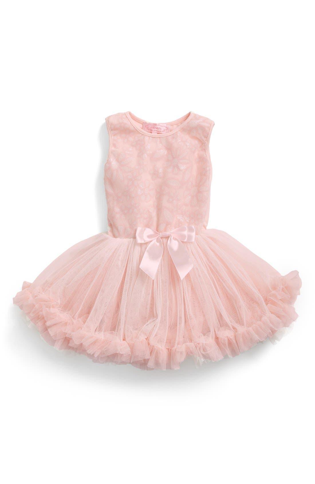 Main Image - Popatu Floral Sequin Pettidress (Baby Girls)