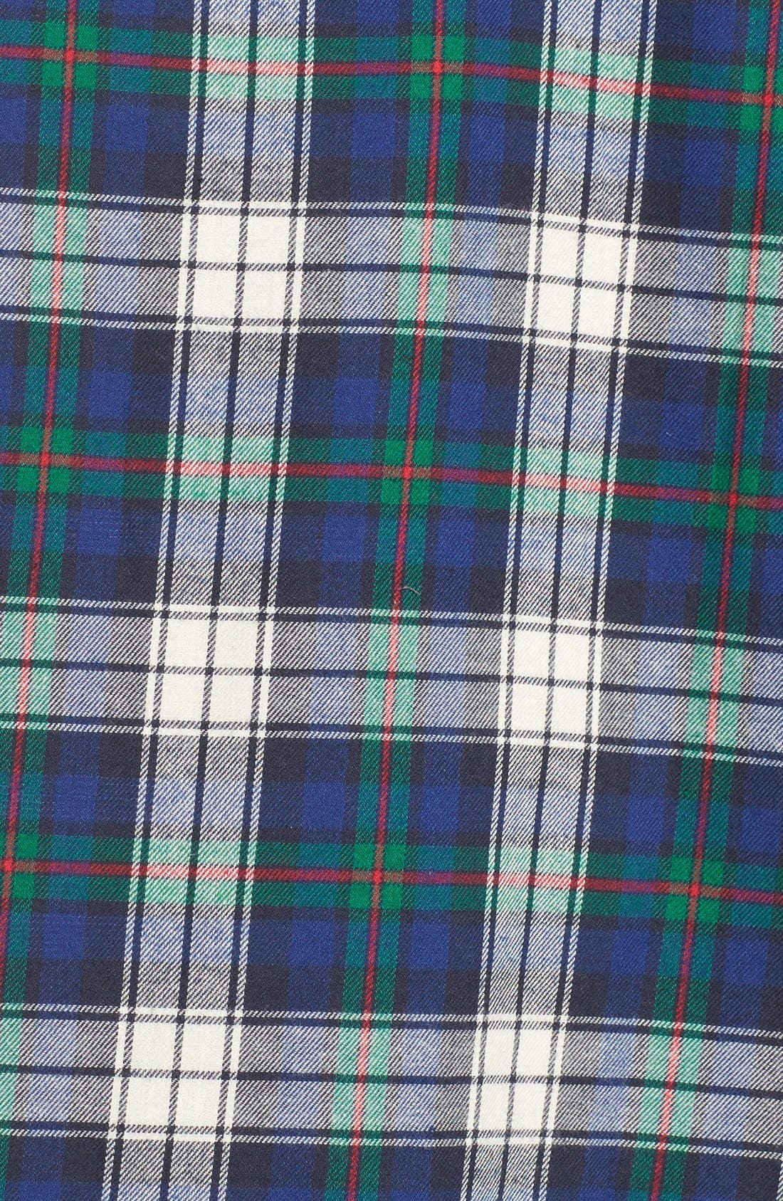Plaid Woven Sleep Shirt,                             Alternate thumbnail 5, color,                             Plaid Cream/ Blue/ Green