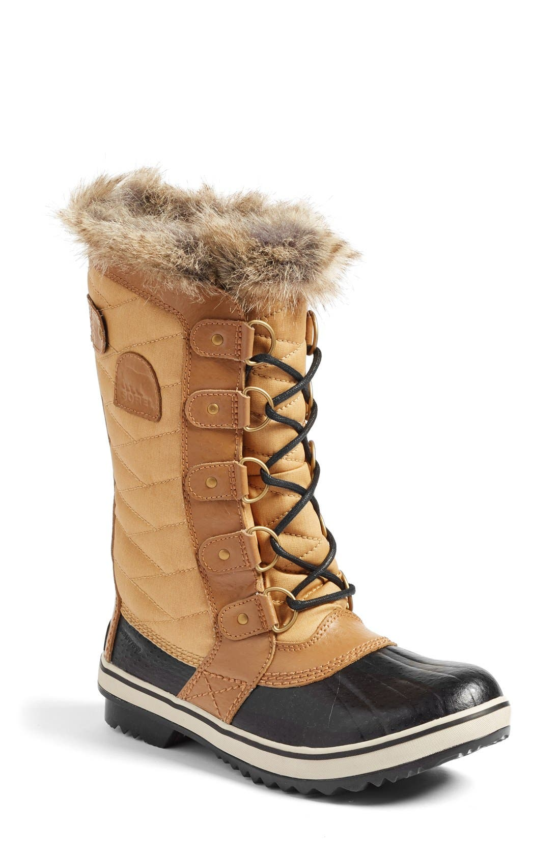 'Tofino II' Faux Fur Lined Waterproof Boot,                         Main,                         color, Curry